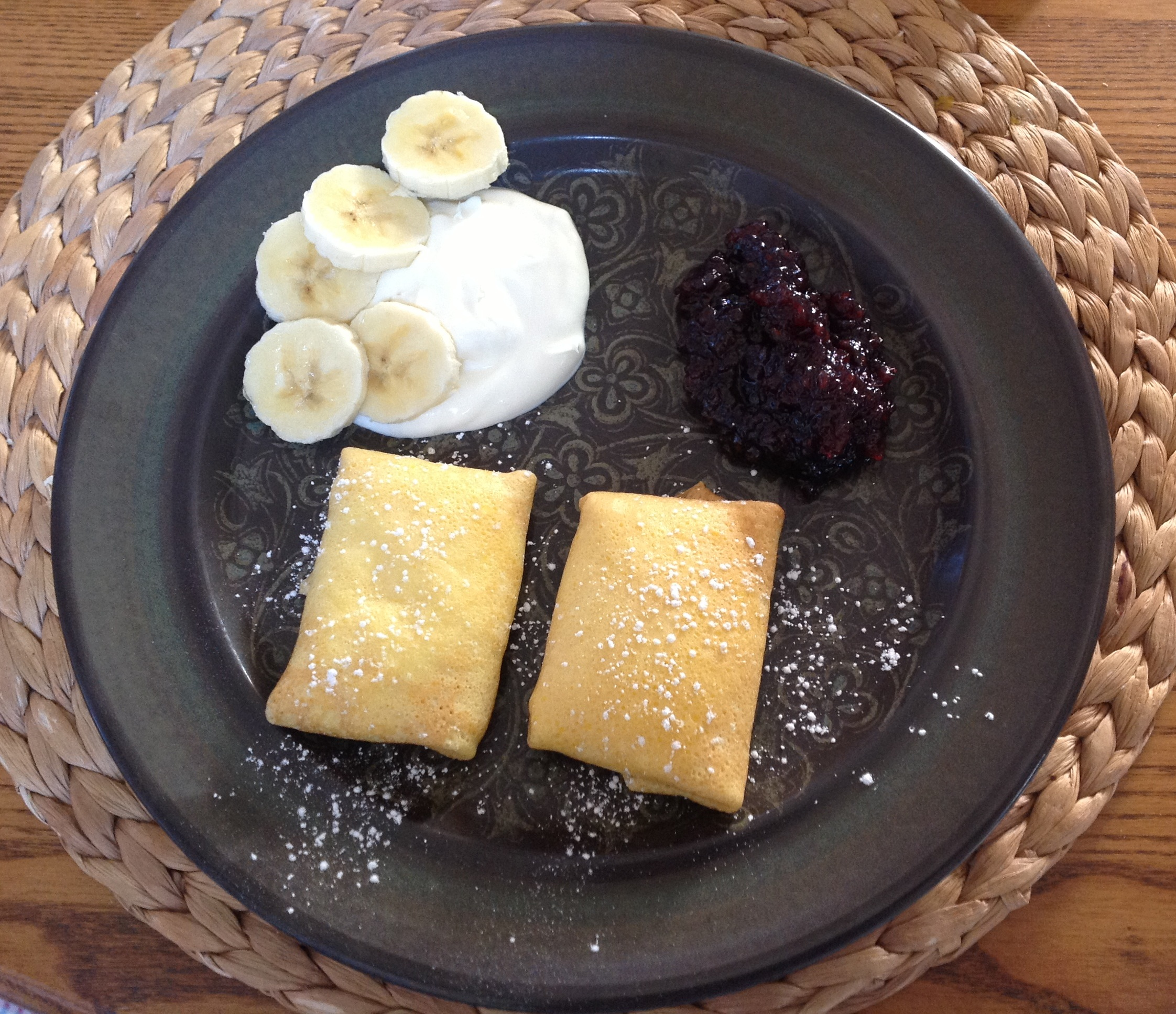 crepes with blackberry jam and bananas